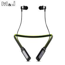 Curled Stereo Wireless Bluetooth Headphone Headset Outdoor Sports Premium Neckband Magnetic Earphones Mic iPhone XiaoMi - M&J Audio Equipment Store store