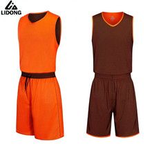 LIDONG Mens Basketball Jersey Sets Uniforms kit Sports Men basketball jerseys shirt shorts Reversible Breathable DIY Number Name