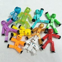 5 Pcs/lot Colors Randomly Sending Cute Stikbot Sucker Suction Cup Funny Deformable Sticky Robot Action Figure Toys Free Shipping