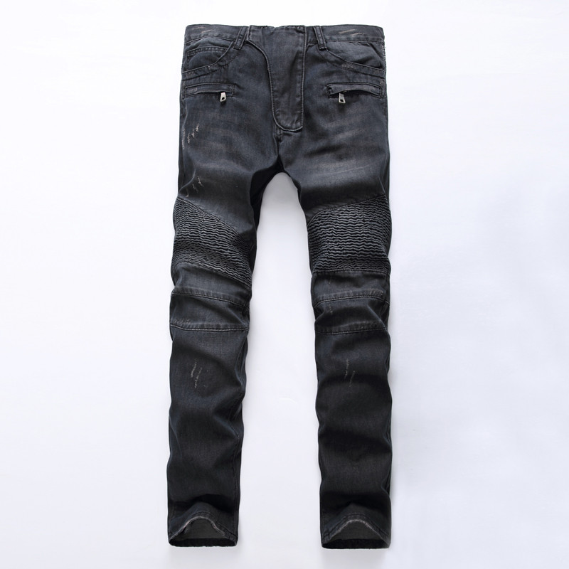 Men's Fashion Brand Designer Ripped Biker Jeans Men Distressed Moto Denim Joggers Washed Pleated Jean Pants Black Blue 18