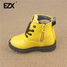 winter Child Shoes PU Leather Waterproof Martin Boots Kids Snow Boots Brand Girls Boys Rubber Boots baby boots size 21-25 E106(China)