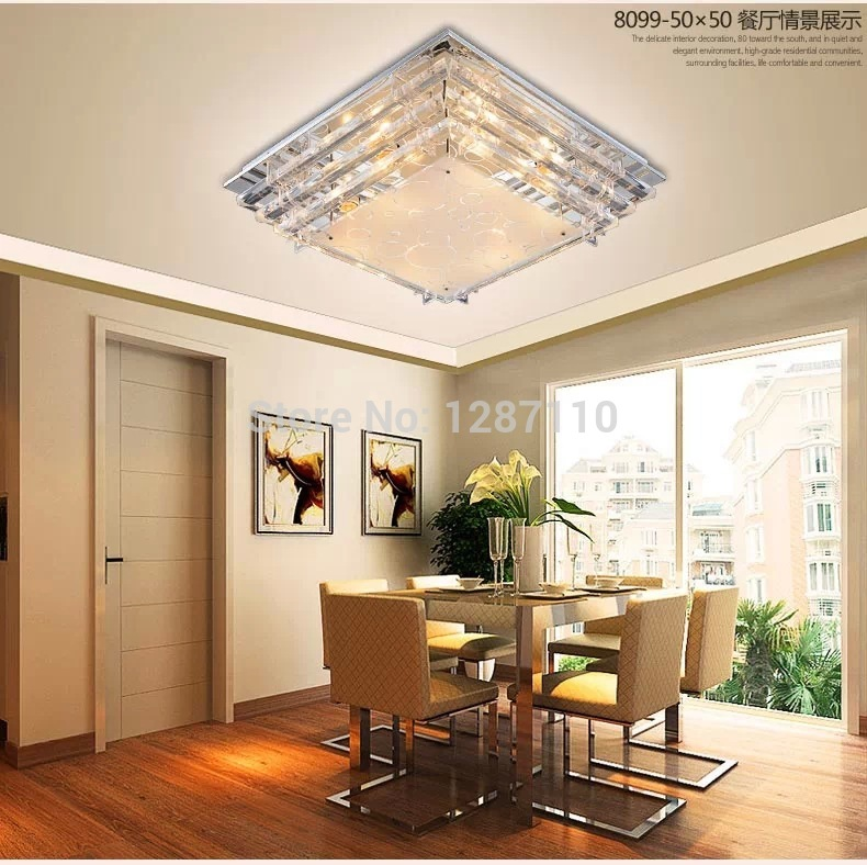 Modern Minimalist E27 Crystal LED Ceiling Light For Living Room Dining Low Voltage Led