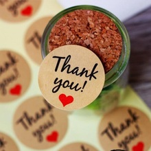 "120pcs/lot Vintage""Thank you"" Heart Round Kraft paper Seal sticker For handmade products baking products sealing sticker lable"