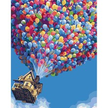 Colorful balloon & Flying Pixar Abstract hand painting canvas oil paintings psychedelic art Painting by numbers picture DYH002(China)