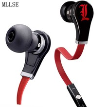 MLLSE Anime Death Note L Lawliet In-ear Earphones 3.5mm AUX Wired Stereo Earbud Gaming Headset for Iphone Samsung Xiaomi MP3 PS4(China)