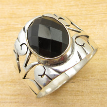 Real Stone Ring Size US 6.25 !  Silver Plated Black Onyx Jewelry ONLINE STORE