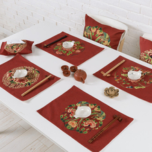 Table decor Chinese style Red bottom Festive Flowers Tea mats Western Placemat Coffee mats Double layer Thick Linen Tablecloth