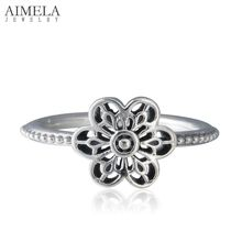 AIMELA Vintage 925-Sterling-Silver Floral Daisy Lace Rings For Women Rings Famous Brand Flower Engagement Rings Jewelry Making