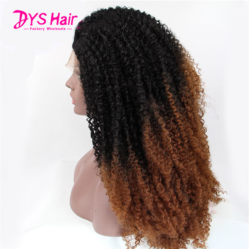 Curly Synthetic Lace Front Wigs 16-30 Afro Kinky Curly Wigs Heat Resistant Afro Kinky Natural Ombre Brown Lace Front Wigs<br><br>Aliexpress