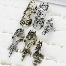 Double full finger knuckle long armor ring for women antique Antique Bronze punk party jewelry wholesale dropship(China)
