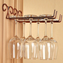 Behokic NC Classical Single Double Row Wall Wine Goblet Glass Shelf Stemware Hanging Rack Holder for Bar Dining Home Decoration