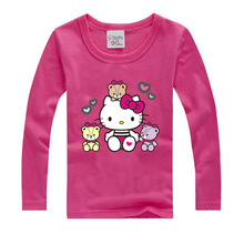 2017 new style t shirt girls clothes Long sleeve cotton children clothing cute Hello kitty t shirts kids clothes girls t-shirt