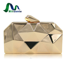 Milisente Handbags Women Metal Clutches Top Quality Hexagon Mini Party Black Evening Purse Silver Bags Gold Box Clutch(China)