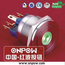 ONPOW 22mm 1NO1NC Latching 6V Green LED stainless steel dot illuminated Pushbutton switch (GQ22-11ZD/G/6V/S) CE, RoHS   CE, ROHS