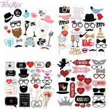 FENGRISE Mr Mrs Just Married Fun Photo Booth Props Bride Groom Wedding Decoration Photobooth Bridal Shower Event Party Supplies(China)