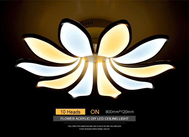 Horsten Simple Flower Acrylic LED Ceiling Light Modern Creative Lotus Ceiling Lamp For Living Room Bedroom With Remote Controller (11)