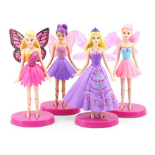 4pcs/lot high quality 14cm Princess figures Becautiful pink girl fairy PVC doll toys(China)