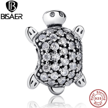 Exquisite Clear CZ Sea Turtle Animal Charm Fit Pandora Original Bracelet Sterling Silver 925 DIY Accessories Jewelry WEUS147