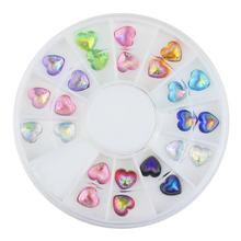 24 Pcs 12 Colors Acrylic Love Heart Shell 3D Conch Nail Art Supplies Tips Glitter DIY Charms Wheel Nails Decorations ZP121