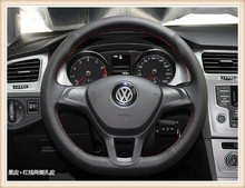 HOT SALE DIY car handmade sewing Steering wheel cover Fit for Volkswagen Golf 7/ 2014 Volkswagen polo