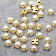 7mm 100pcs/lot Golden Plating pearl Color Rhinestone Beads, Sew On Rhinestones for Garment Jewelry Sew on Pearls With 4 Holes
