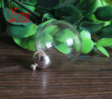 10sets 25mm Round clear globe glass bottle & 11mm silver plated top connector set(China)