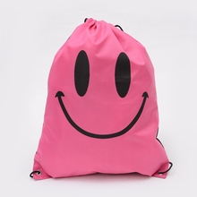 Outdoors Shoulder Waterproof Drawstring Sports Backpack Storage Bags Oxford Cloth Beach Travel Backpack Smiley Storage Bag