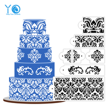 YO 7pcs/lot Damask Stencil 5 Tier Cake Stencil Design Stencil Newest Culinary Cake Mold Fondant Molds Cake Tools Bakeware(China)