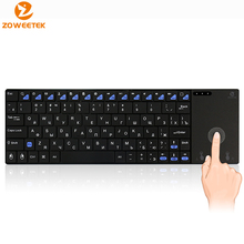 Genuine Zoweetek i12plus 2.4G mini Keyboard slim wireless Russian with touchpad Teclado for PC HTPC IPTV Android Smart TV Box(China)