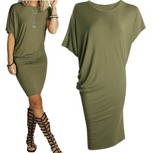 Women Summer Fashion Short Sleeve Casual Solid Dress Sexy Party Club Pleated Package Hip Dress Army Green Orange Black