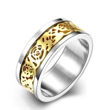 New Design Hot Sale Men's Titanium Steel Engagement rings Hollow Engraved Reticulate Gold Cover flower chic style jewelry