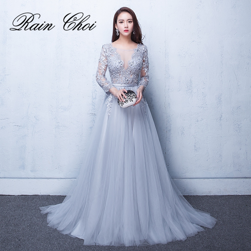 2019 Evening Dresses 3/4 Sleeves Appliques Silver Formal Gown Long Evening Party Dress vestido de festa(China)
