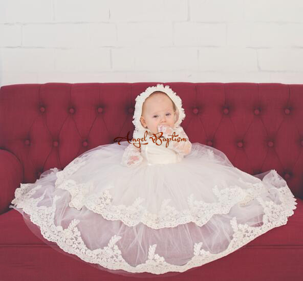 Vintage Long sleeves two tiers White/Ivory Lace Purfles Baby Infant Boys Girls Formal Christening Gown Baptism Robe Dress<br><br>Aliexpress