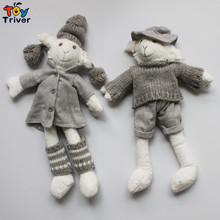 32cm Plush Sheep Lamb Couples Hand Knitted Toys Knitting Dolls Baby Kids Girl Firend Kawaii Birthday Gift Korean Japan Style(China)