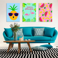 tropical adventure happy fruits wall sticker for restaurant fruit store juice shop decor pineapple banana wall decals diy poster