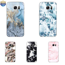 For Samsung Galaxy S7 G9300 Phone Case For Galaxy S7 Edge G9350 Cover For Galaxy S4 Shell TPU Marble Lines Design Painted