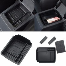 Black Armrest Secondary Storage Box Pallet Center Console Organizer Case For VW Golf 7 MK 7 2013 - 2015 Glove Boxes(China)