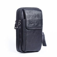 "Genuine Leather Vertical 5.5"" Cellphone Belt Loop Holster Case Waist Pack Mini Travel Messager Bag Pouch Crossbody Purse Wallet"