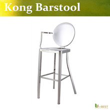 Free shipping U-BEST Emeco Kong Barstool with right arm,moder barstools and counter stools for outdoor and indoor, pub chair(China)
