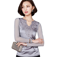 Women Plus Size Blusa Feminino 2016 Spring Autumn Fashion V-Neck Silk Blouses Mesh Long Sleeve Embroidery Basic Tops Shirt A421