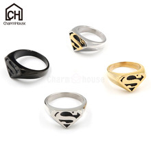 Fashion 3 Colors S Logo Ring for Men Punk Rock Style Superman Round Rings Big Size Jewelry Accessories Class Design Anel Homme(China)