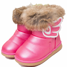 2016 New Winter Girls PU Leather Snow Boots Kids Children Wing Shoes Warm Plush Boots Genuine Rabbit Fur Toddlers Footwear 21-30