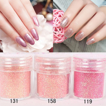 1Box 10ml Pink Color Mixed DIY Shining Glitter Nail Art Powder Nail Glitter Powders Sheets Tips Nail Art Set