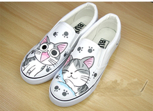 Hand Painted Fashion Platform Women 2015 Spinrg Summer Dunk Low Slip-on Canvas Slippers Lovers/Couple  Loafers