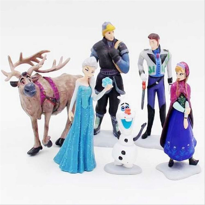Hot Sell Kawaii Gifts Action Toy Figures 6 Pcs/Sets Elsa And Anna PVC Toys Anime Generation Model Toy Collection Gift<br><br>Aliexpress