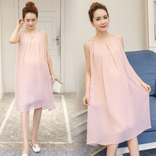 Pregnant women's summer sleeveless dress Pregnant clothes Big size clothes Long Chiffon Dress Fashion summer mother dress