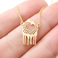 Cute Giraffes Pendent Chain Necklace Women Simple Animal Party Couple Jewelry(China)