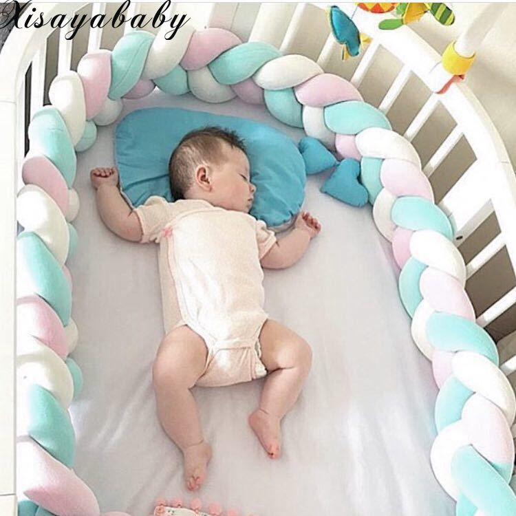 XISAYABABY Nordic Style Baby Bed Bumper colorful baby Pillow Cushion Baby Bedding Crib Protector Baby Room Decoration 200cm<br>