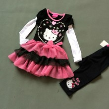 4 sets/lot 2-4 yrs girl 2 pcs suit,top quality Hello kitty Black color long sleeved spring tutu dress&black tights outfit