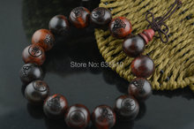 Red Sanders Wood Round Beads Mala Bracelets 1.5mm Carved Buddha sandalwood Bracelet